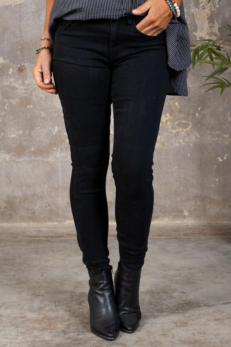 Skinny-jeans-RD6389---Rosett-Dragkedja---Svart-fram