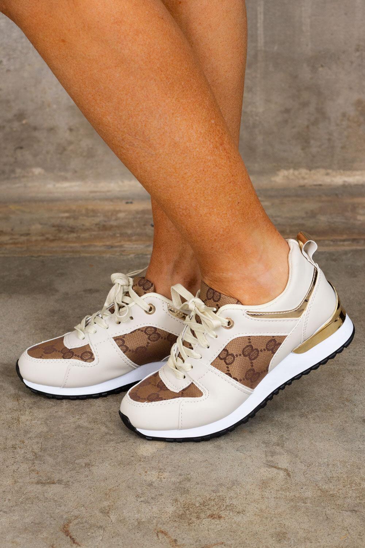 Sneakers B-08 - Mönstrade - Beige