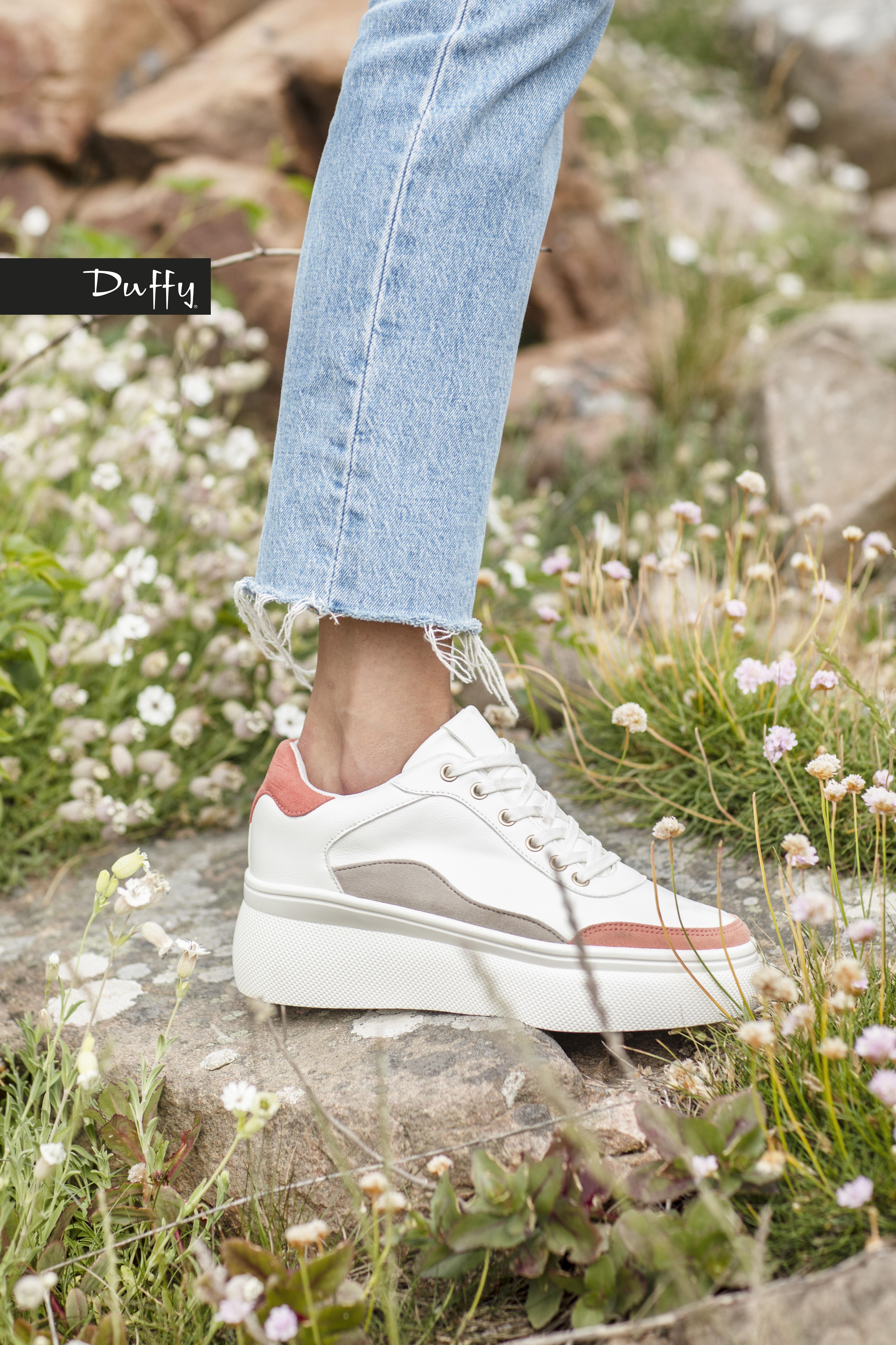 Sneakers Platå - Vit/Corall