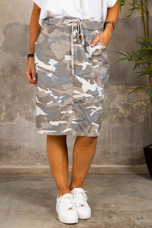 Stretch kjol - Camouflage - Beige