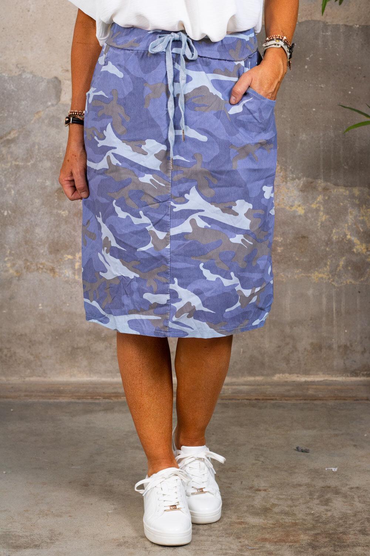 Stretch kjol - Camouflage - Blå