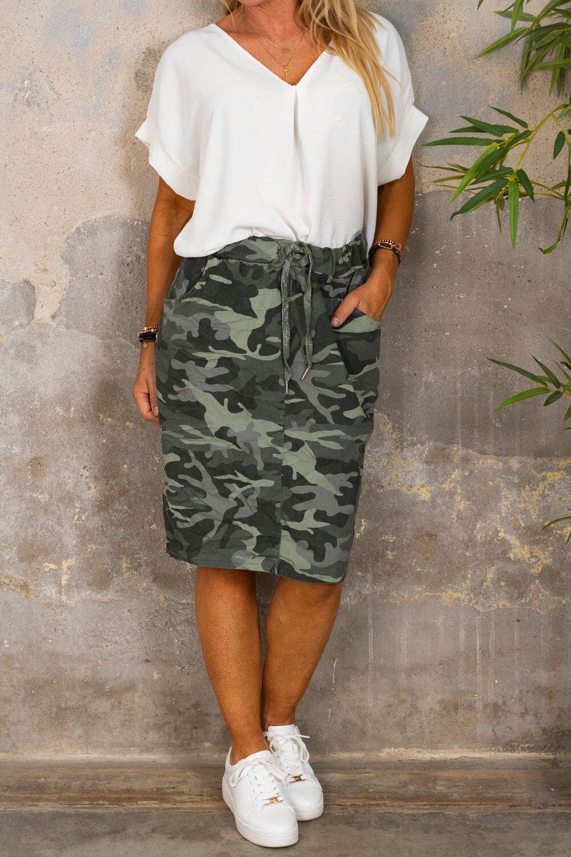 Stretch kjol - Camouflage - Khaki