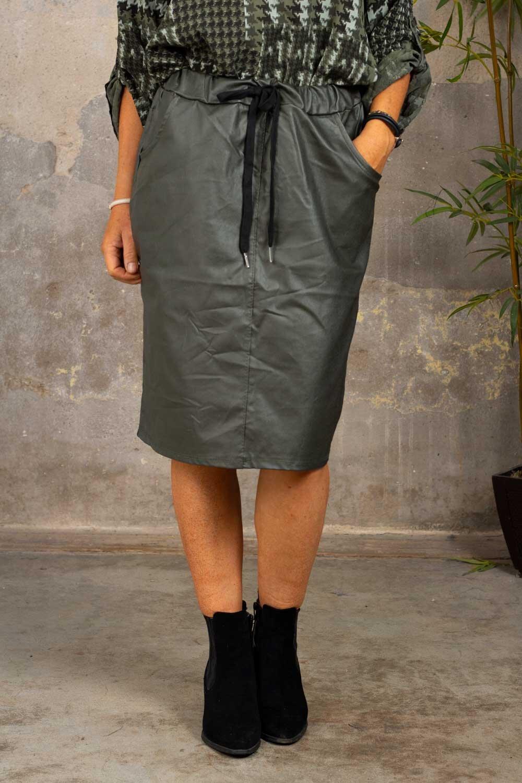 Stretch kjol - Vaxad - Armégrön