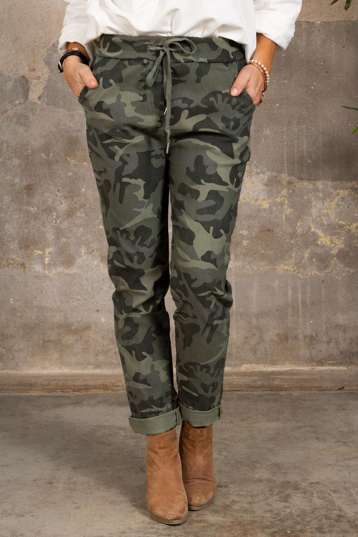 Stretchiga byxor 3385 - Camouflage - Khaki