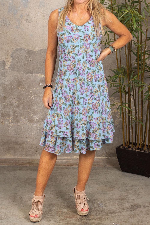 Tessa - Småblommig klänning med Volang - Ljusblå