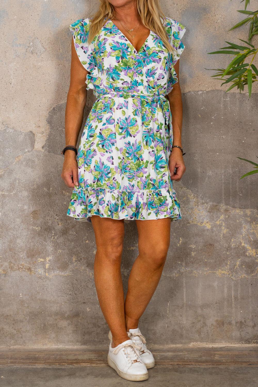 Thea klänning - Flowerpaint - Cream