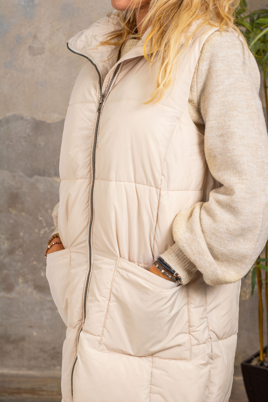 Trixie Lång täckväst - Fickor - Beige