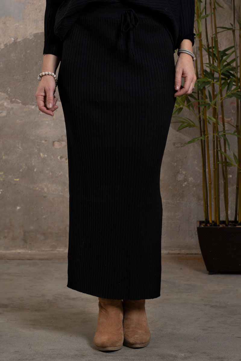Troja-och-Kjol-set---Ribbad---Svart-kjol