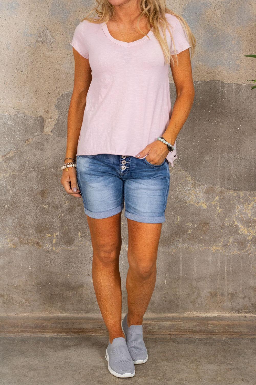 V-ringad t-shirt - Ljusrosa