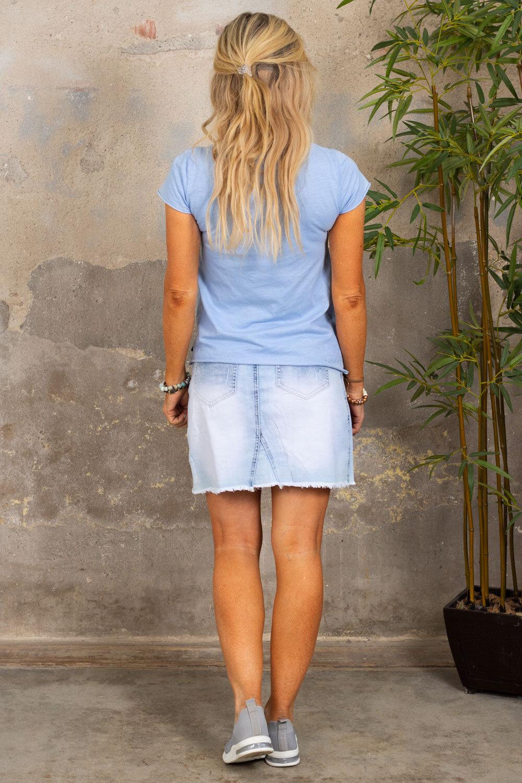 V-ringad t-shirt - Sky blue