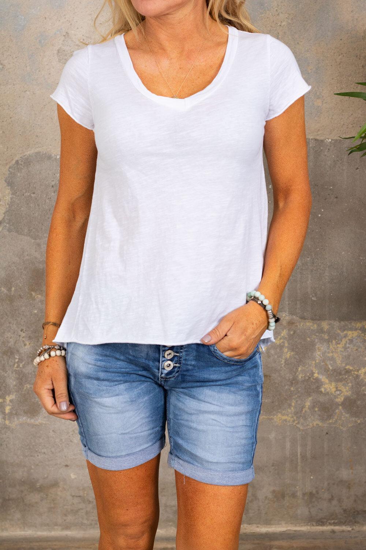 V-ringad t-shirt - Vit