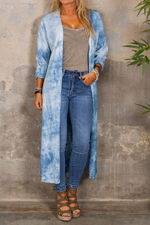 Vendela Långkofta - Batik - Blå