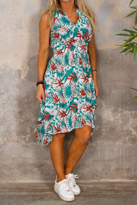 Wilma Blommig klänning - Längre sidor - Cream
