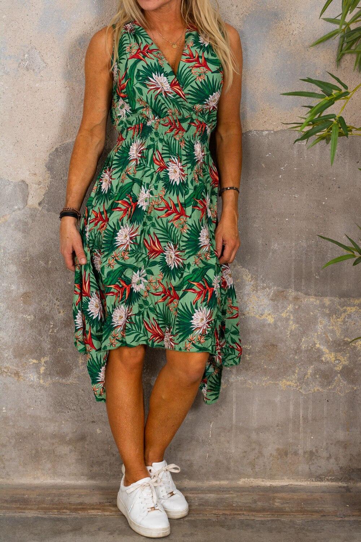 Wilma Blommig klänning - Längre sidor - Grön