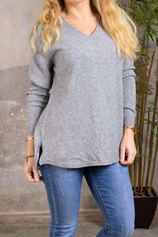 Yvette Finstickad tröja - V-ringad - Grå