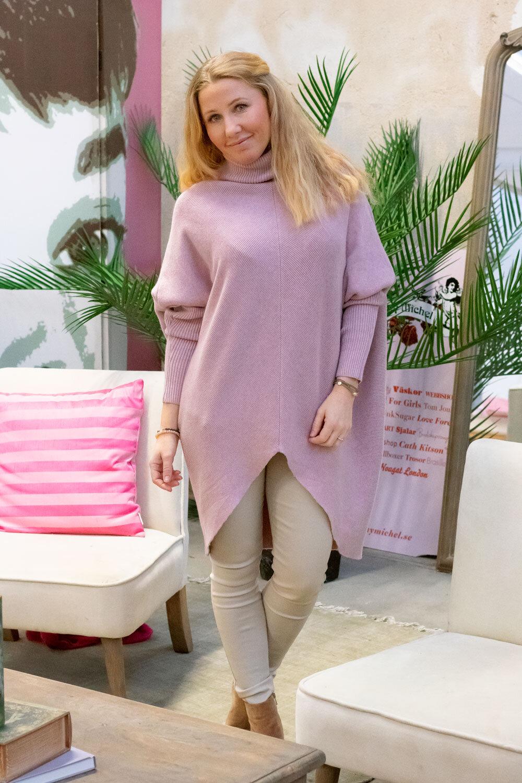 Bonnie - Stickad tröja med polokrage - Gammelrosa
