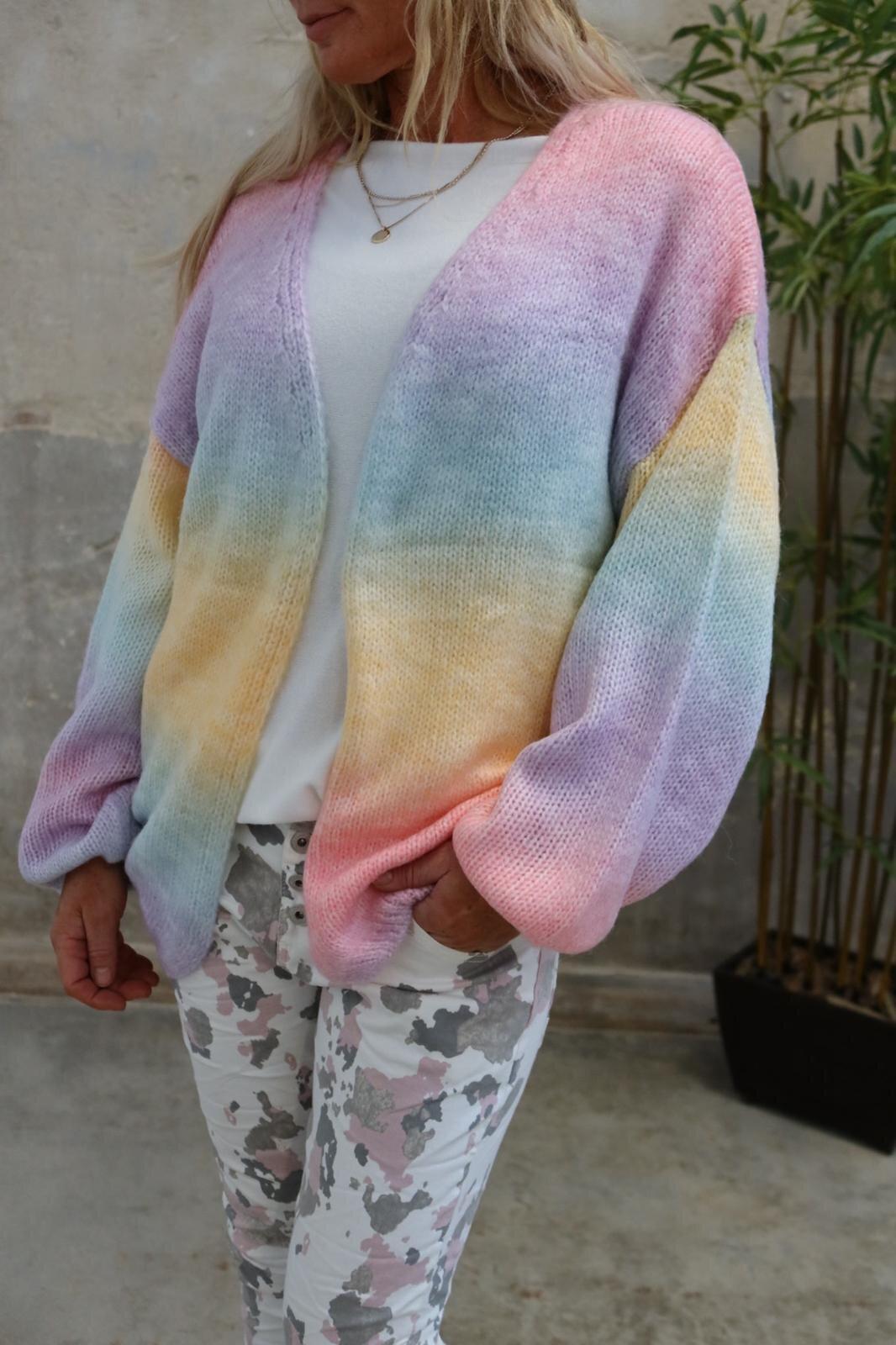 Emelie stickad kofta - Rainbow