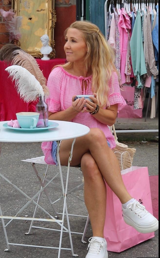 Emmie Blus - Med knyt - Cerise