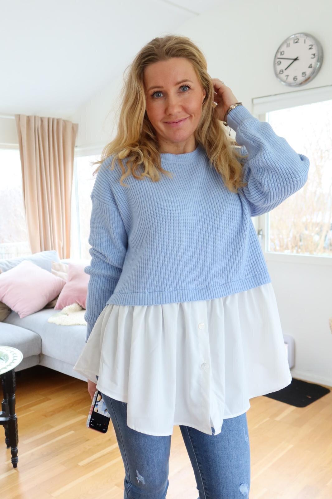 Jenny tröja - Skjorta nertill - Blå