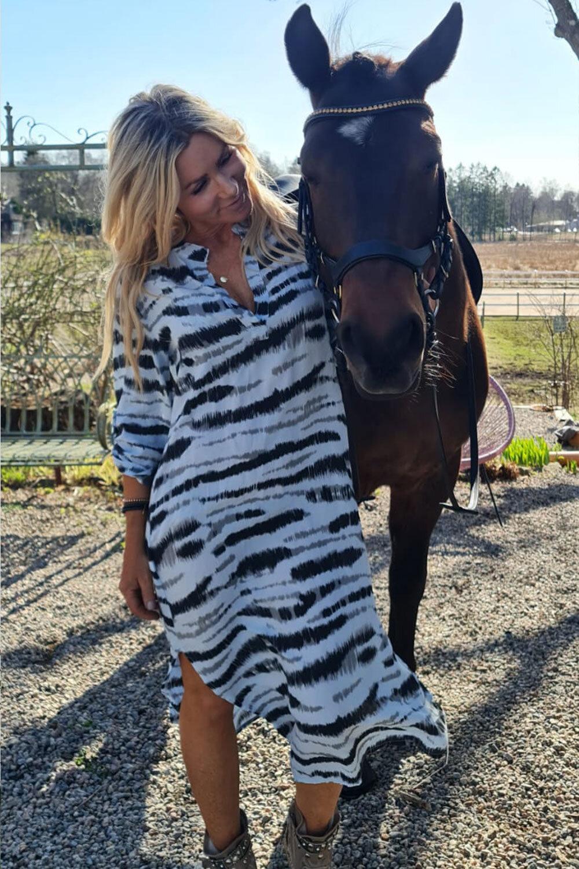 Sandy Långskjorta/Klänning - Zebra - Blå