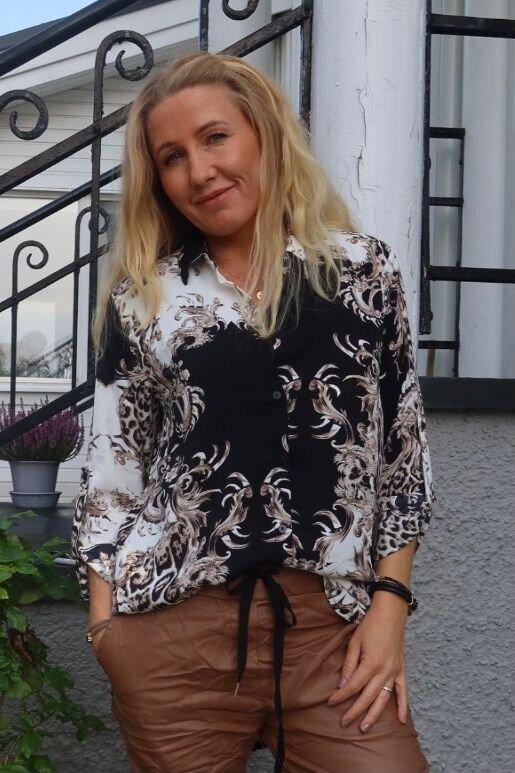 Telly Mönstrad Skjorta - Svart/Cream