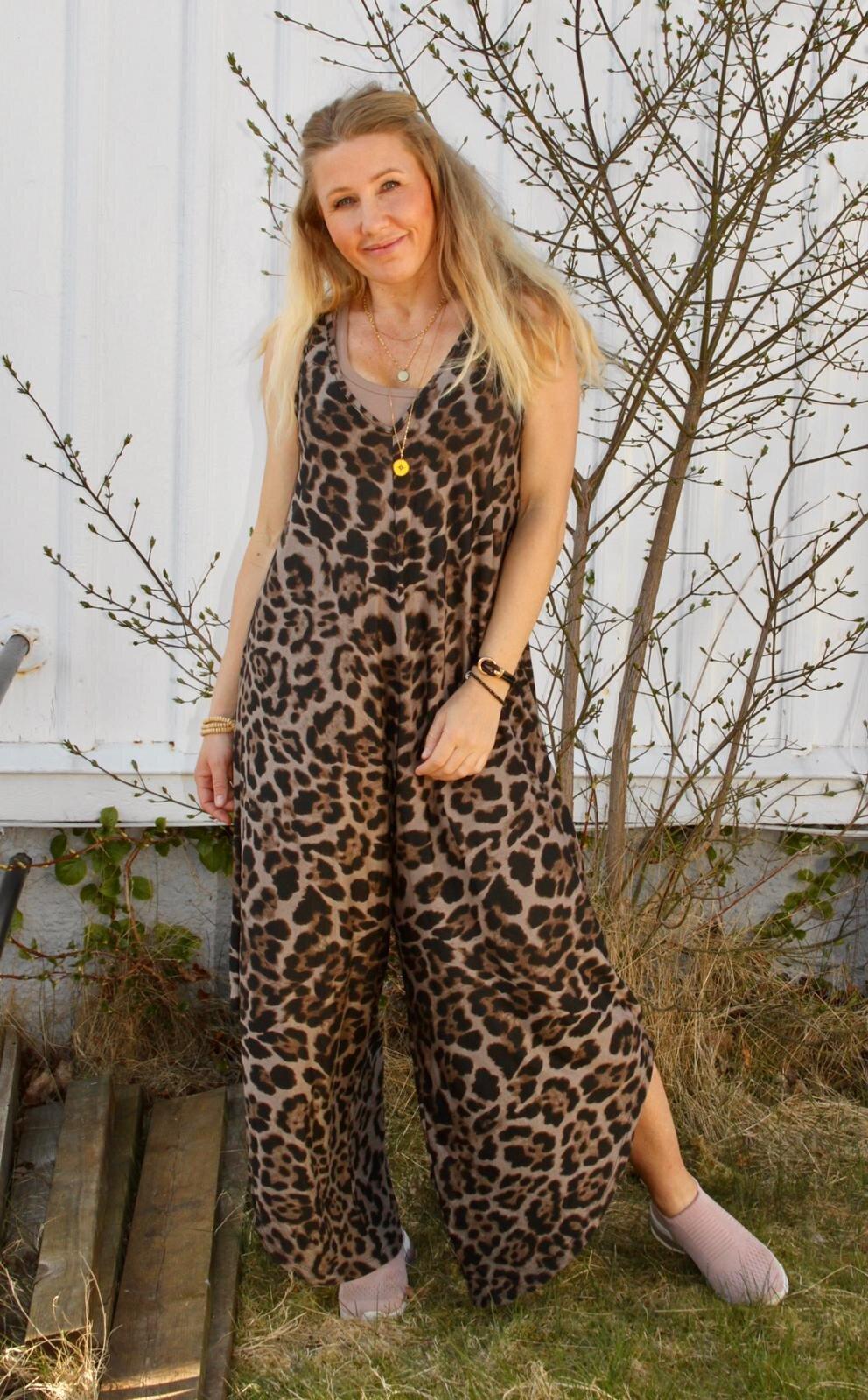 Theodora Jumpsuit - Leopardmönster - Taupe