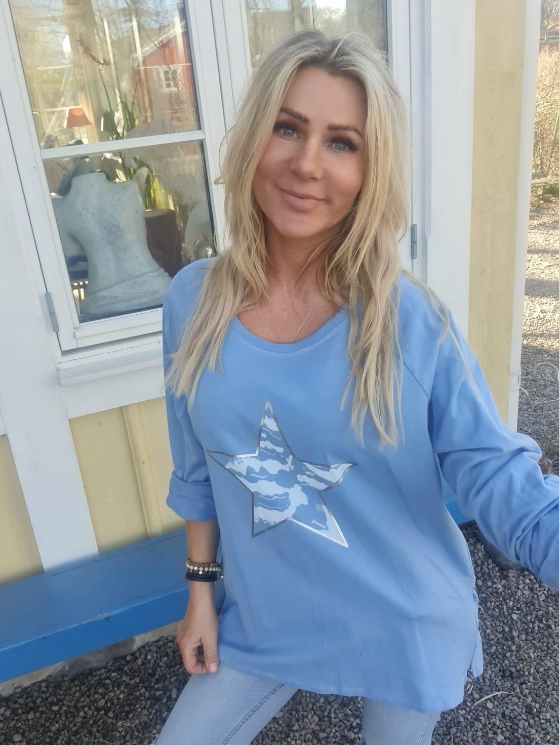 Ulrika tröja - Stjärna & Dragkedjor - Blå